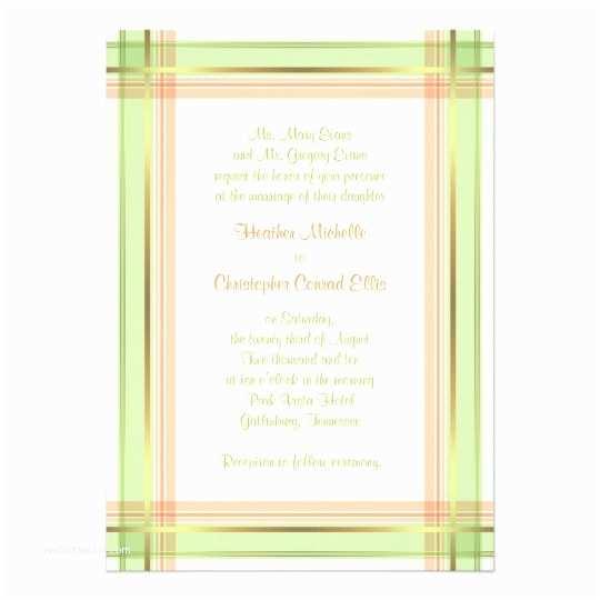 Mint Green Wedding Invitations Mint Green Coral Pink Plaid Wedding Invitation