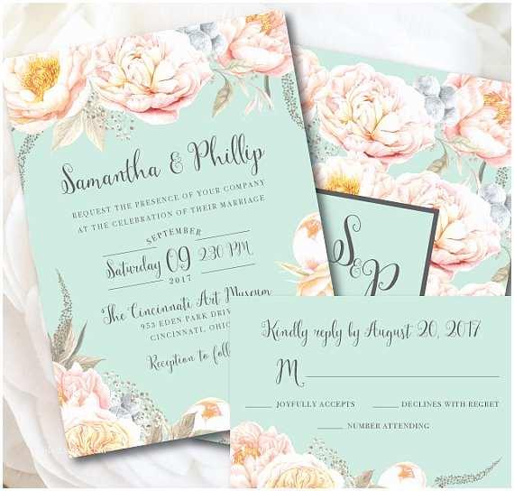 Mint Green Wedding Invitations Mint Wedding Invitation Mint Wedding Mint and Peach