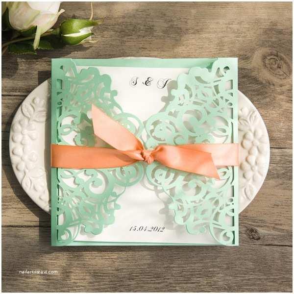 Mint Green Wedding Invitations Spring Mint Green and Peach Laser Cut Wedding Invitations