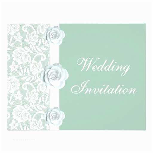"Mint Green Wedding Invitations White Roses & Lace Mint Green Wedding Invitation 4 25"" X 5"