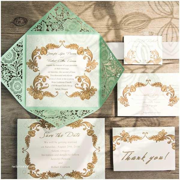 Mint Wedding Invitations Elegant Mint Green Laser Cut Wedding Invitations Ewws116
