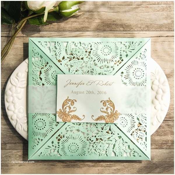 Mint Wedding Invitations Elegant Mint Green Laser Cut Wedding Invitations Ewws116