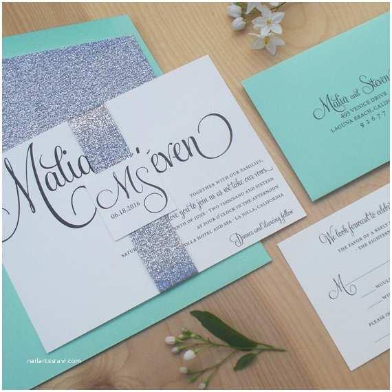 Mint Wedding Invitations Glitter Invitation Silver and Mint Wedding Invitation
