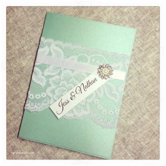 Mint Wedding Invitations Items Similar to Mint Green Vintage Lace Wedding
