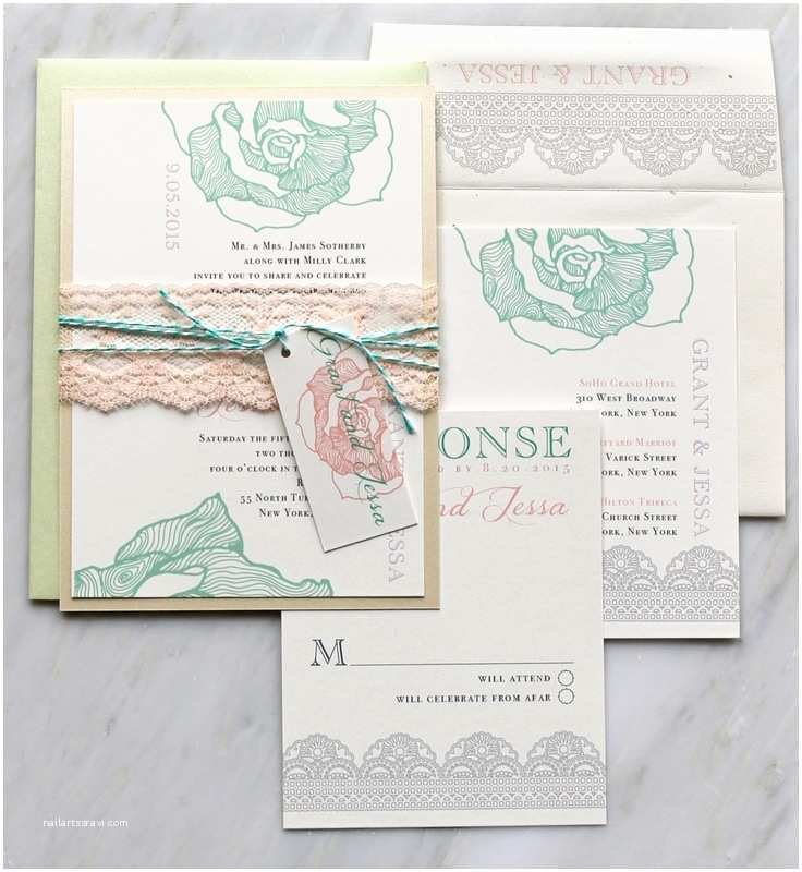 Mint Wedding Invitations Lace Wedding Invitations Mint Lilac Peach Wedding