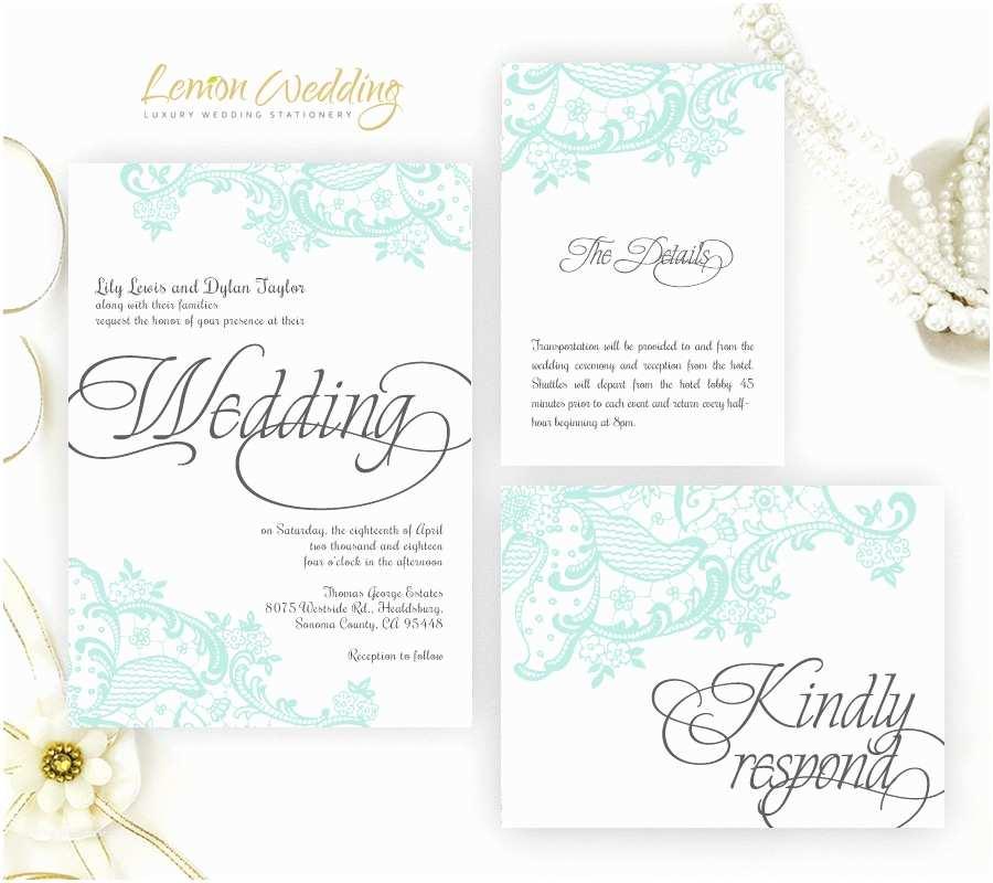 Mint Wedding Invitations Mint Green Lace Wedding Invitation Printed On Shimmer