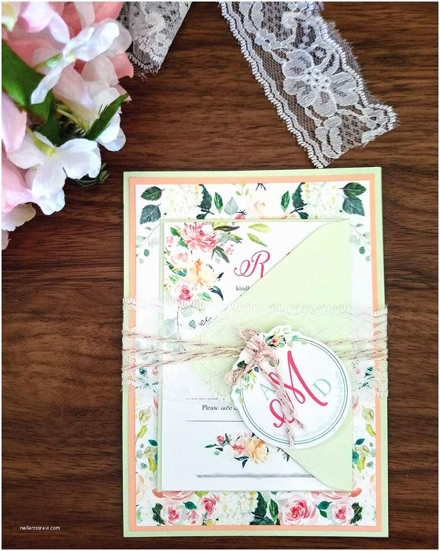 Mint Wedding Invitations My Diy Story Peach & Mint Floral Wedding Invitation