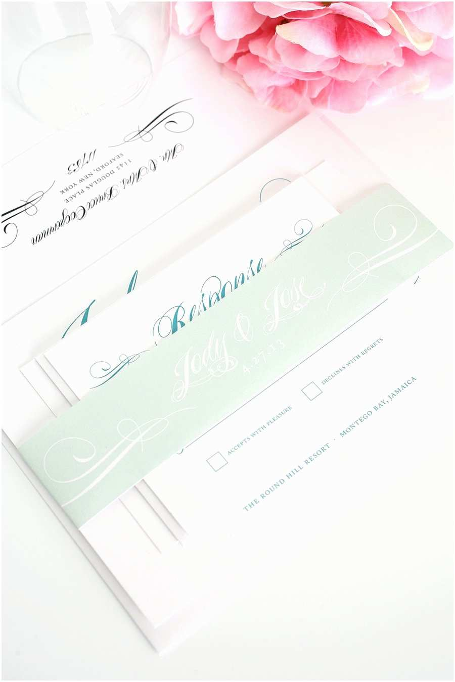 teal wedding invitations mint