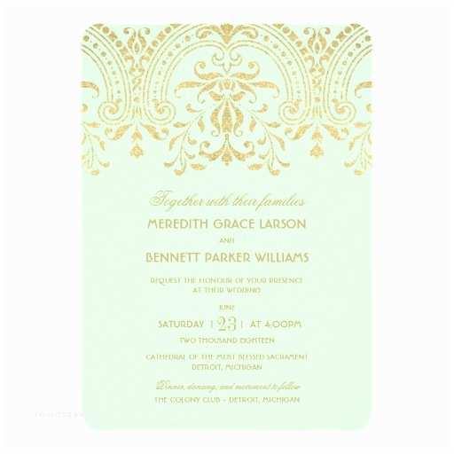 Mint Wedding Invitations Wedding Invitations Mint Gold Vintage Glamour