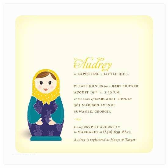 Minted Baby Shower Invitations Baby Shower Invitations Matryoshka at Minted