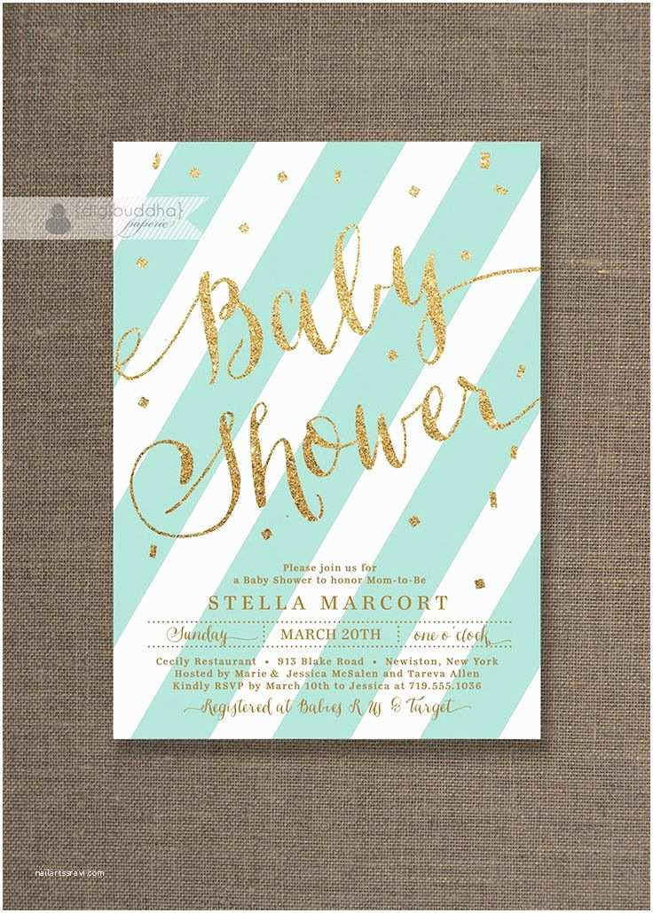Minted Baby Shower Invitations Blue Mint & Gold Baby Shower Invitation Glitter Pastel Boy