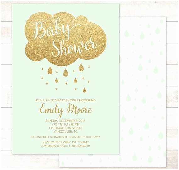 Minted Baby Shower Invitations Mint Baby Shower Invitation Printable Baby Mint Green Gold
