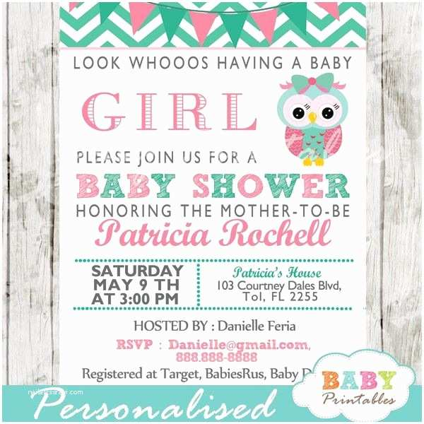 Minted Baby Shower Invitations Mint Green & Pink Owl Baby Shower Invitation Card D126