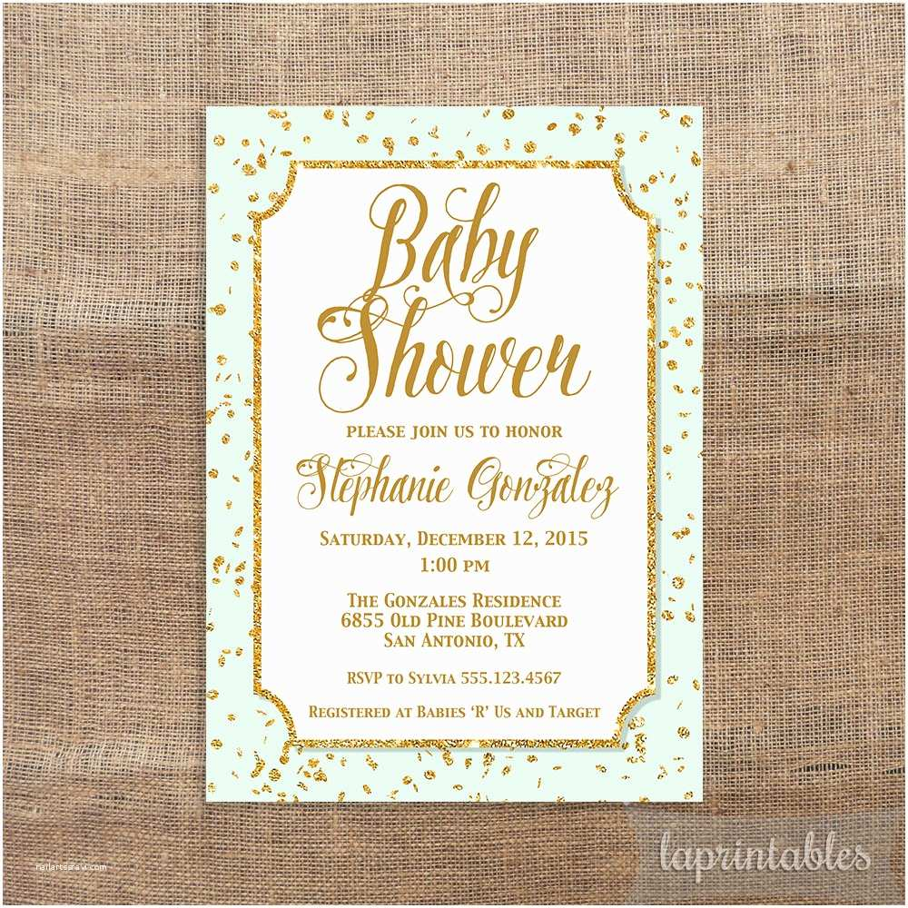 Minted Baby Shower Invitations Mint Green and Gold Baby Shower Invitation Gold by