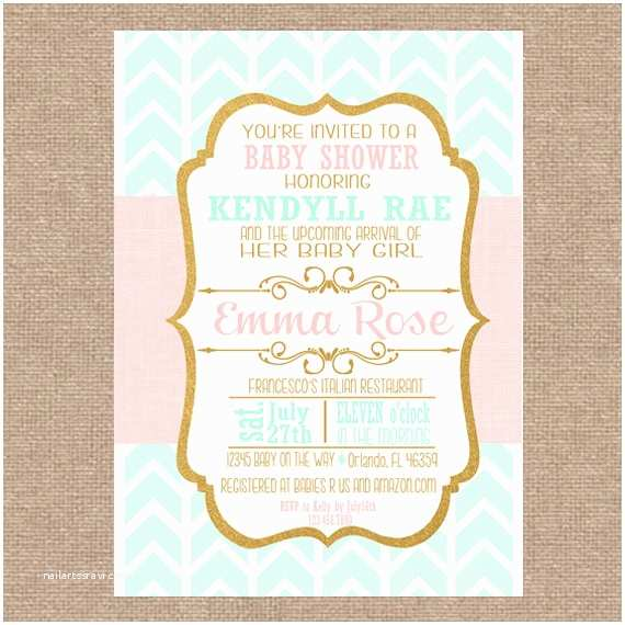 Minted Baby Shower Invitations Mint Rose Gold Baby Shower Invitation