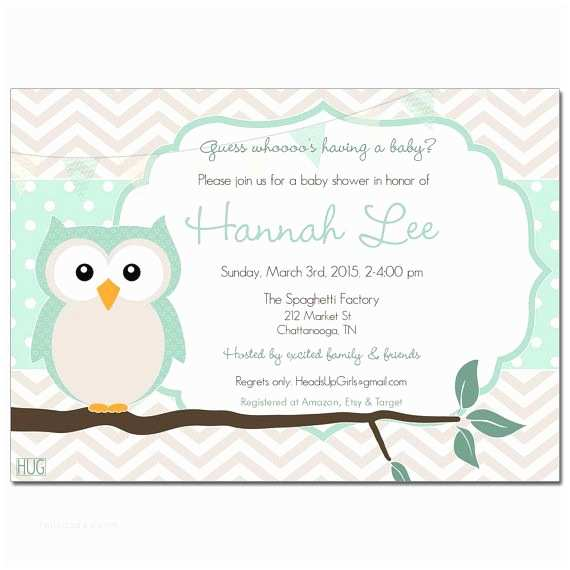 Minted Baby Shower Invitations Set Of 12 Personalized Mint Owl Gender Reveal or Baby