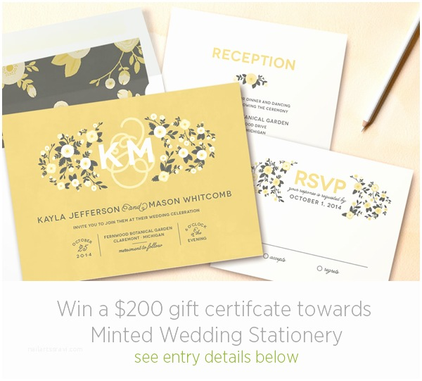 Minted Wedding Invitations Minted Wedding Invitations Giveaway Ce Wed