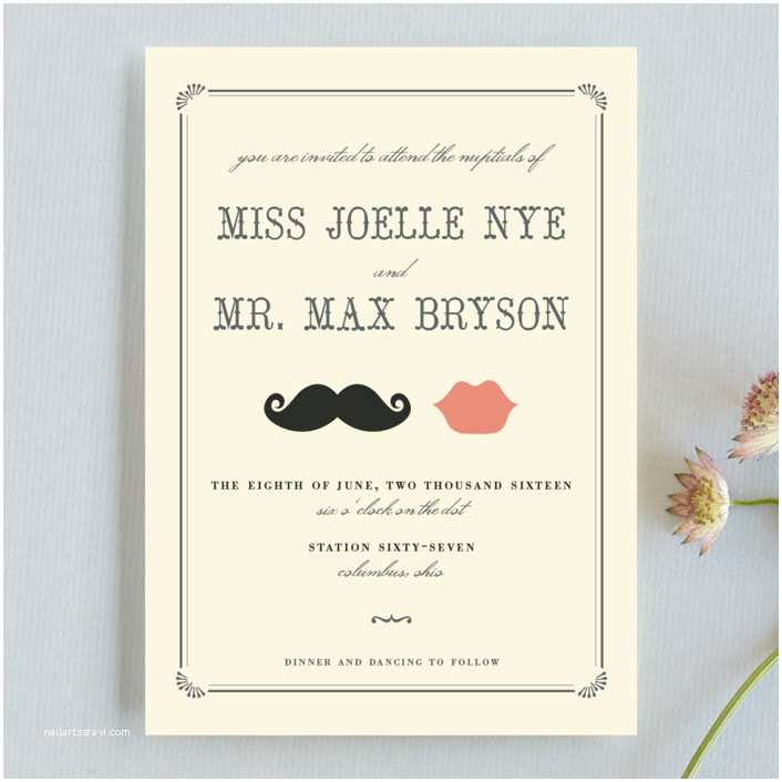 Minted Wedding Invitations Stache Kiss Wedding Invitations by Penelope Poppy