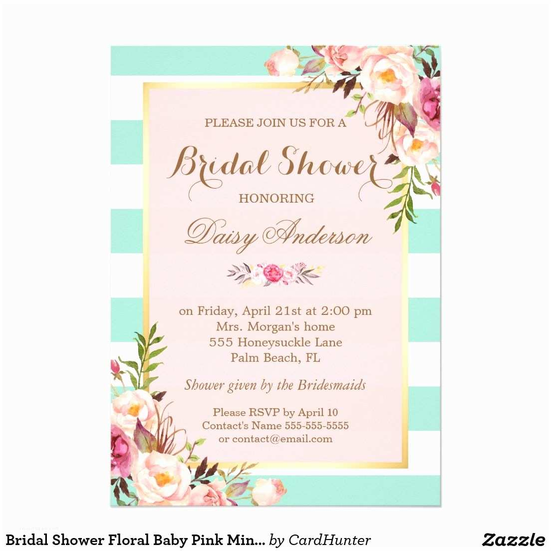 Minted Wedding Shower Invitations Bridal Shower Floral Baby Pink Mint Green Stripes