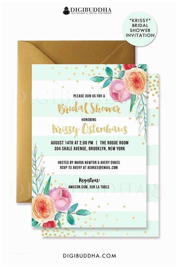 Minted Wedding Shower Invitations Mint & Gold Bridal Shower Invitation Peach Pink Peonies