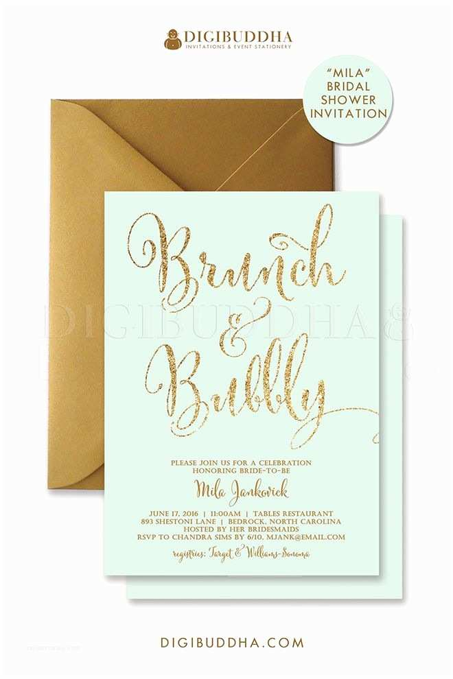 Minted Wedding Shower Invitations Mint and Gold Glitter Brunch & Bubbly Invitations for
