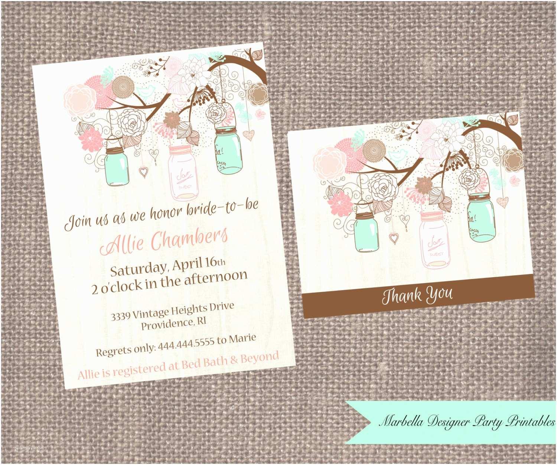 Minted Wedding Shower Invitations Mint Coral Mason Jar Bridal Shower Baby Shower Birthday