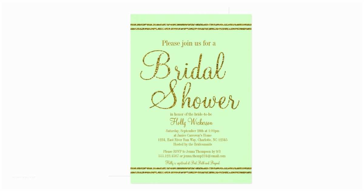 Minted Wedding Shower Invitations Mint Green & Gold Bridal Wedding Shower Invitation