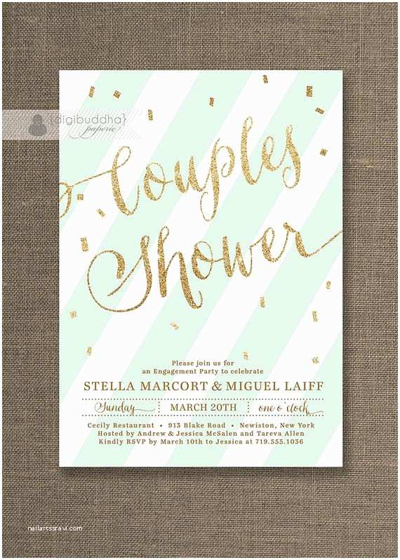 Minted Wedding Shower Invitations Mint Green & Gold Couples Shower Invitation Glitter Pastel