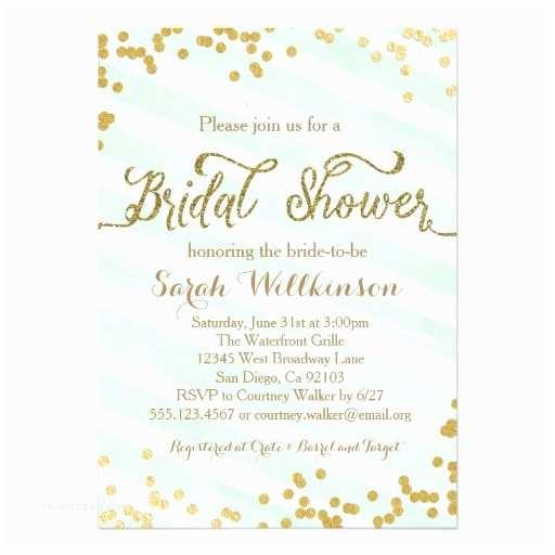 Minted Wedding Shower Invitations Mint Green & Gold Wedding Bridal Shower Invitation
