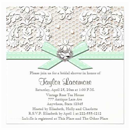Minted Wedding Shower Invitations Mint Pearl Lace Diamond Bridal Shower Invitation