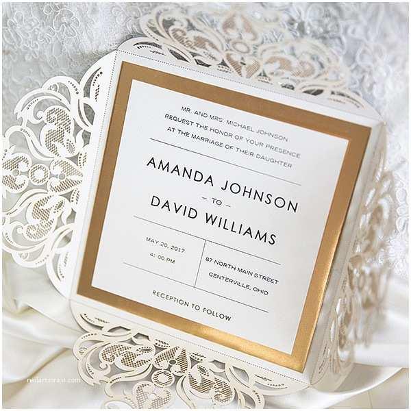Mirror Wedding Invitations Luxury Black Glittery Laser Cut Wedding Invitations with