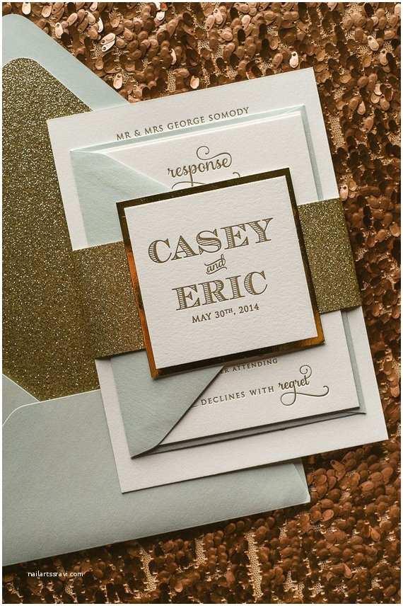 Mirror Wedding Invitations Mint & Gold Mirror Letterpress Wedding Invitation by