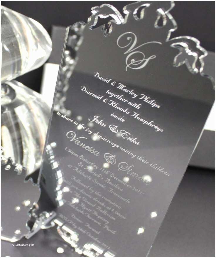 Mirror Wedding Invitations Silver Mirror Acrylic Wedding Invitation