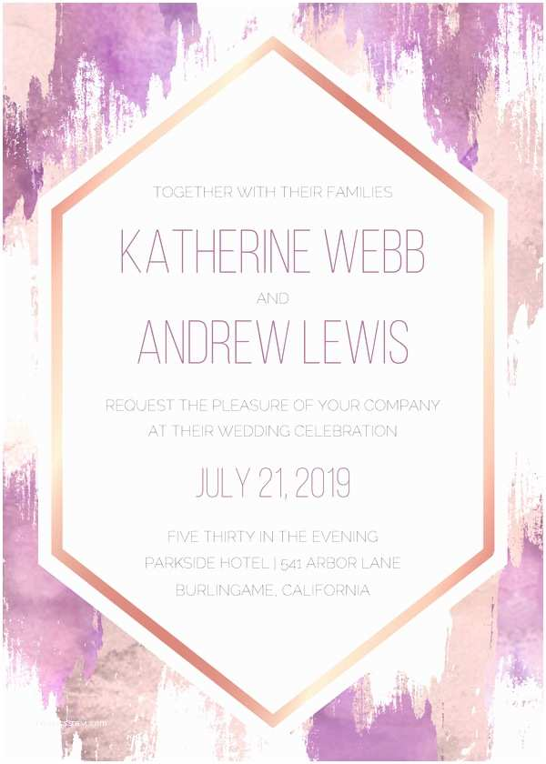 Wedding Invitations Wedding Invitations Foil Hexagon Frame By