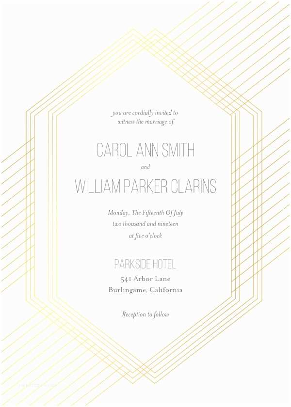 Mixbook Wedding Invitations Wedding Invitations Metallic Modern Geometric by Mixbook