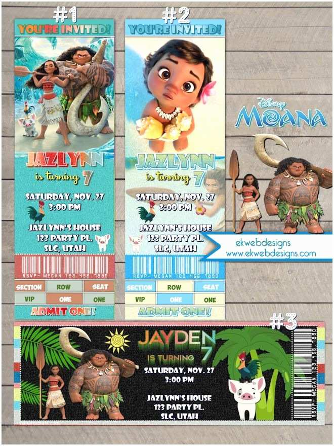 Moana Birthday Party Invitations Disney Ticket Style
