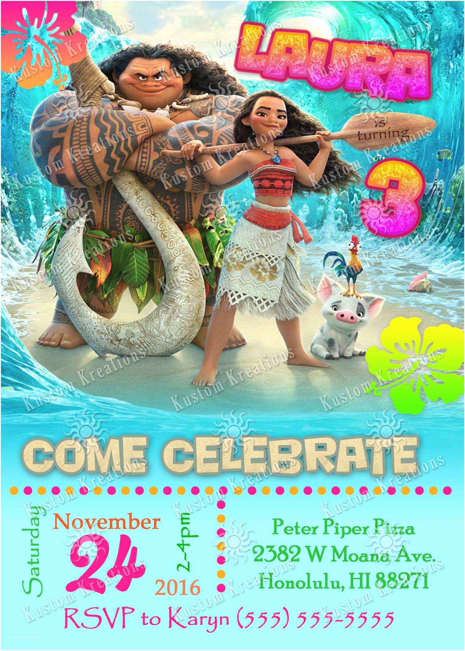 Moana Birthday Party Invitations Moana Birthday Invitations