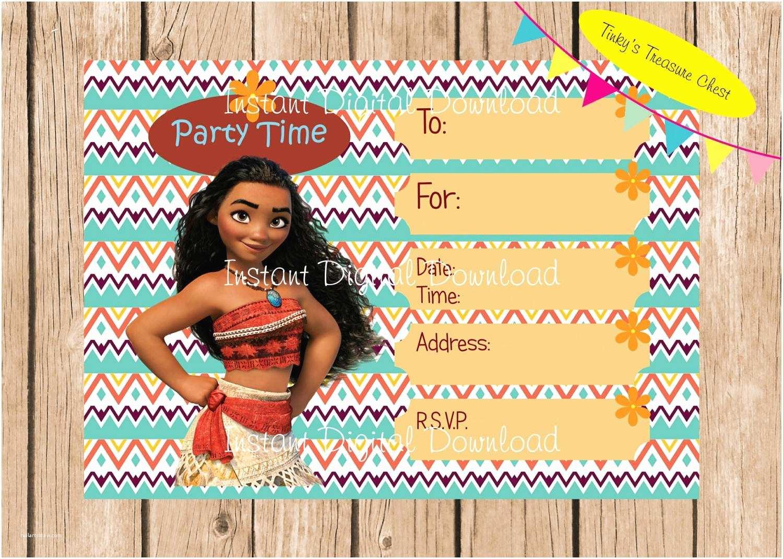 Moana Birthday Party Invitations Moana Instant Download Invitation Digital File Designed to