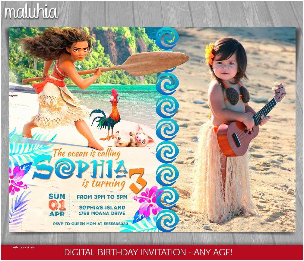 Moana Birthday Party Invitations Invitation Disney Invite