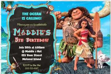 image regarding Printable Moana Invitations titled Moana Birthday Occasion Invites Moana Invitation Moana