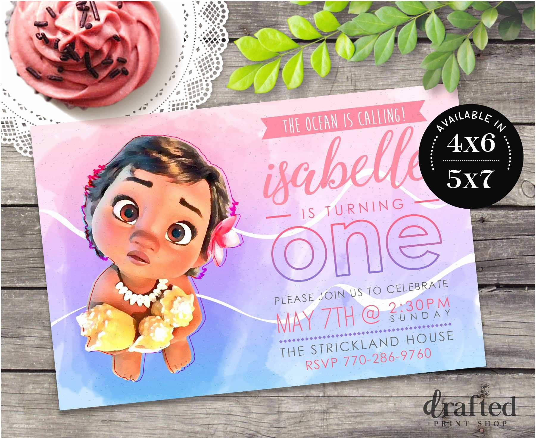 Moana Birthday Party Invitations Invitation Baby