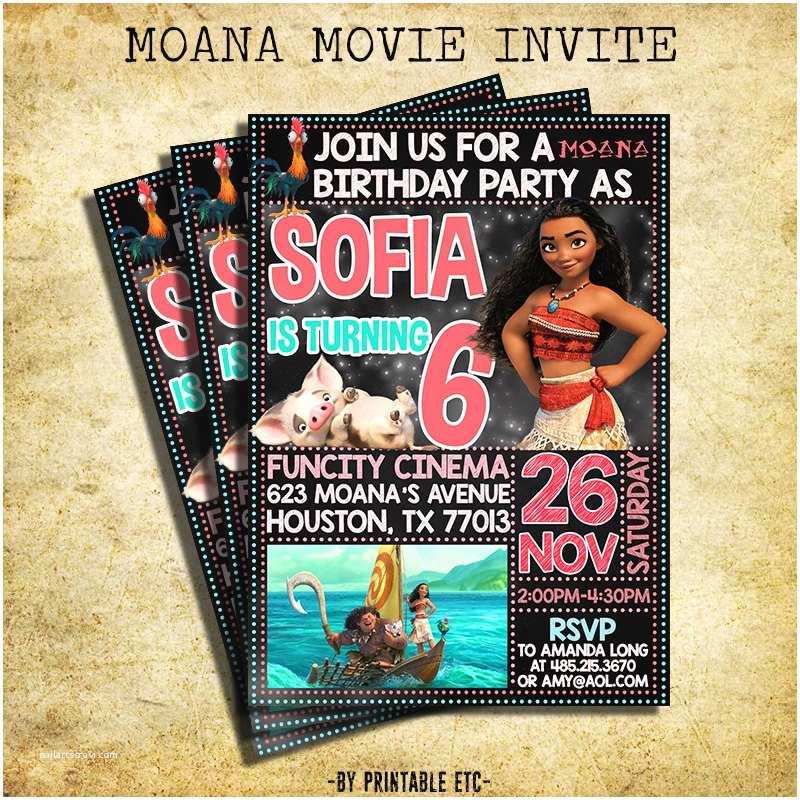 moana movie birthday invitation moana