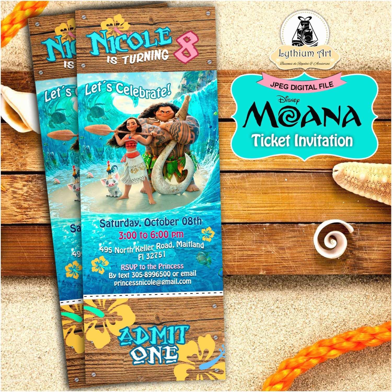 Moana Birthday Party Invitations Moana Ticket Invitation Moana Birthday Party Disney Moana