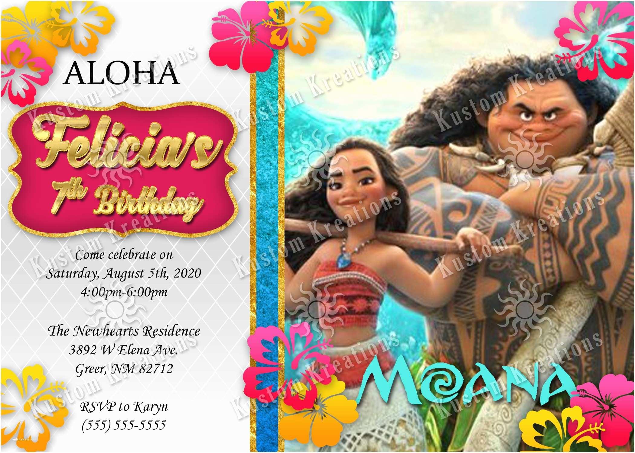 Moana Party Invitations Moana Birthday Invitations