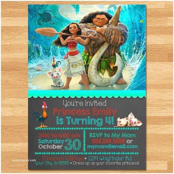 Moana Party Invitations Moana Invitation Chalkboard Moana Invite Disney Princess