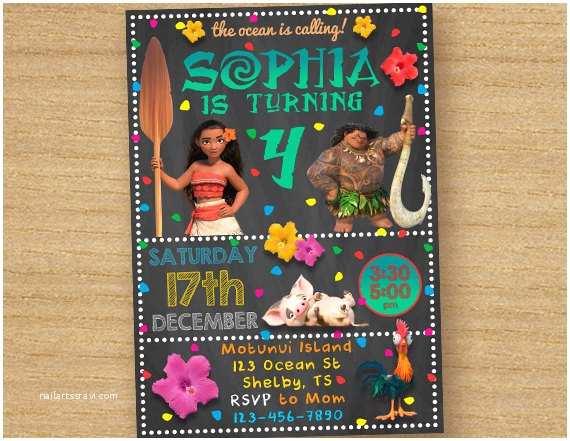 Moana Party Invitations Invitation Birthday Printable Custom