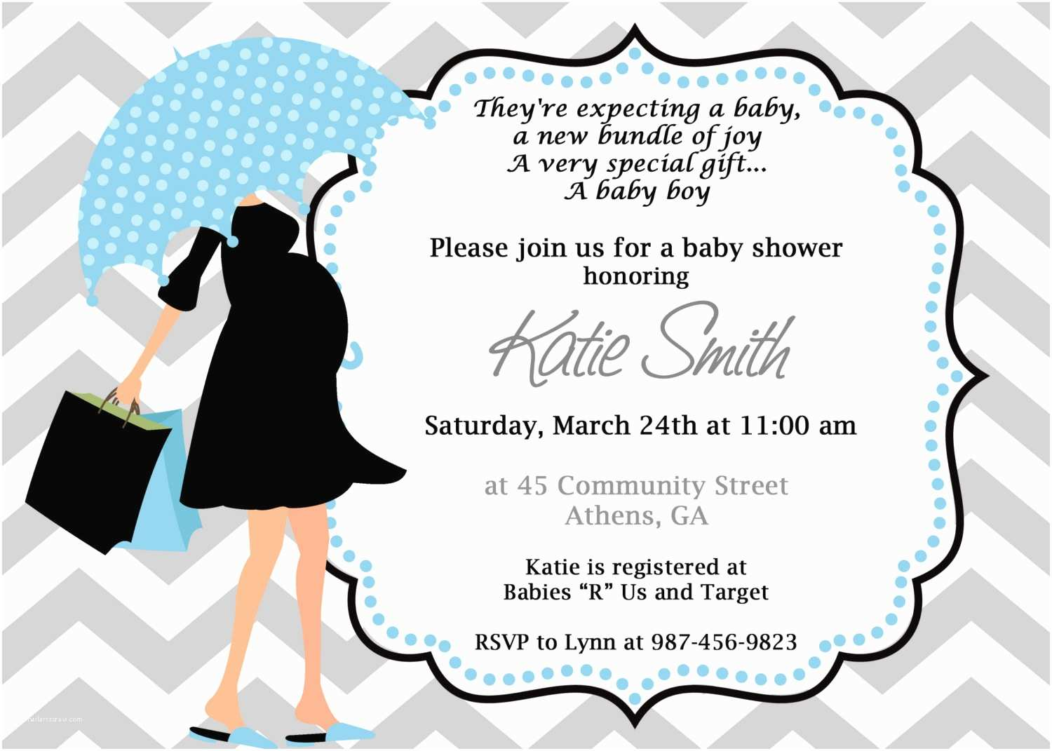 Modern Baby Shower Invitations Blue Chevron Stripes Background with Cute Baby Cute Prince