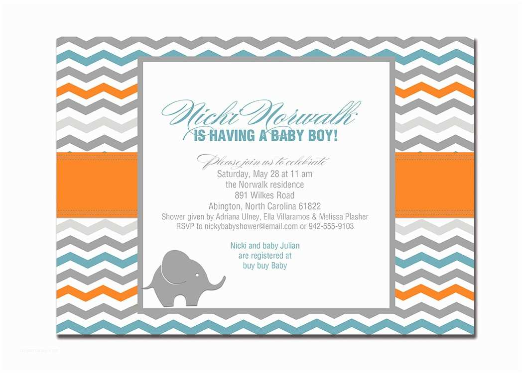Modern Baby Shower Invitations Elephant Baby Shower Invitation Chevron Orange
