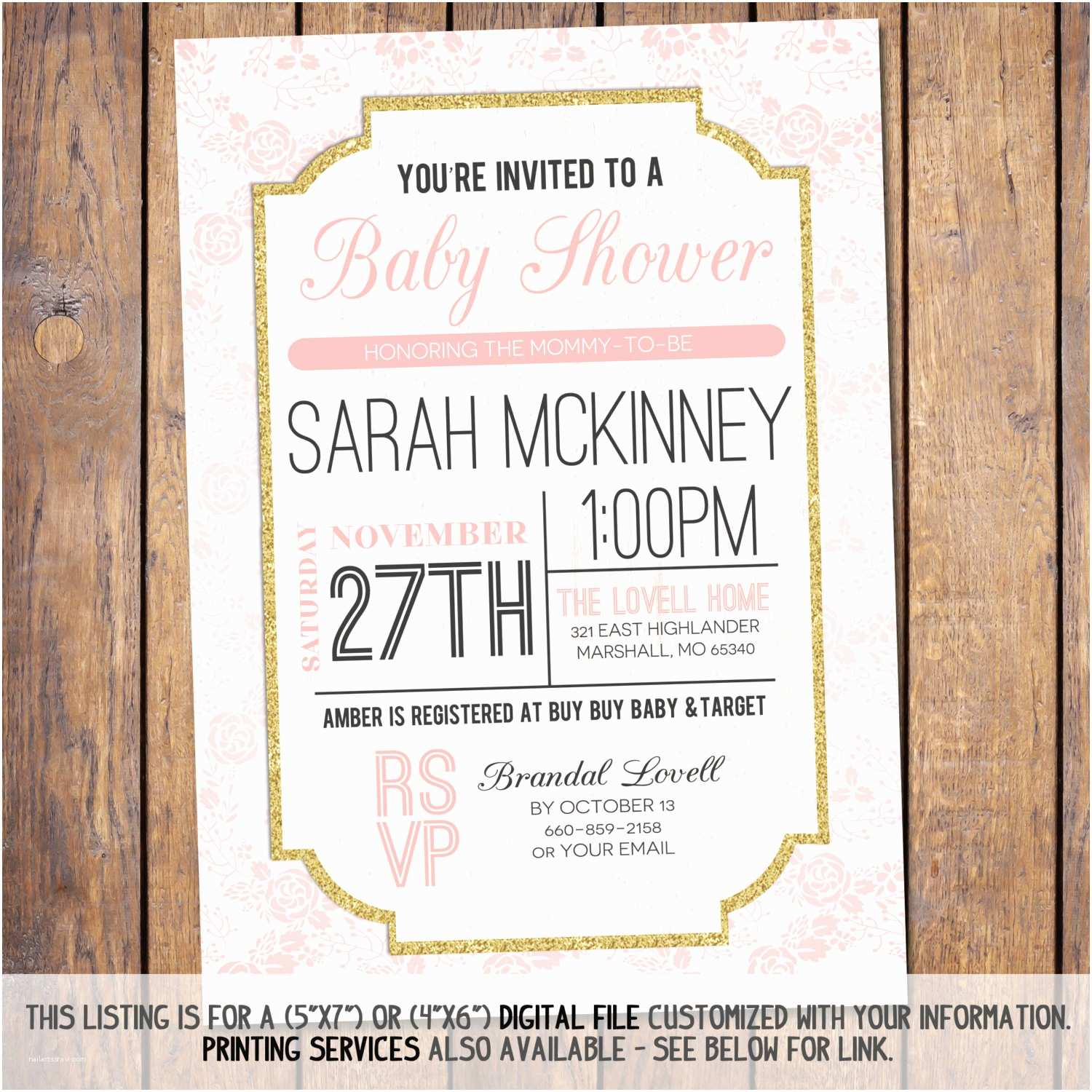 Modern Baby Shower Invitations Floral Baby Shower Invitation Modern Baby Shower Invitation