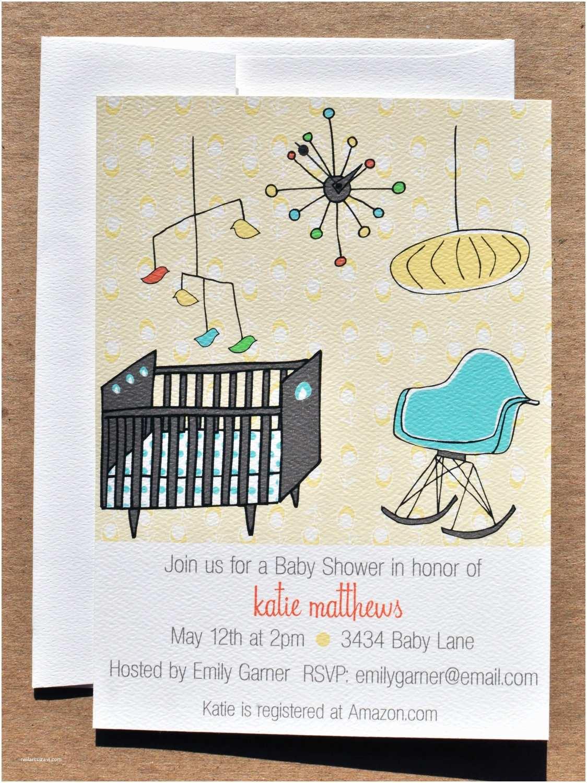 Modern Baby Shower Invitations Mid Century Modern Nursery Baby Shower Invitation